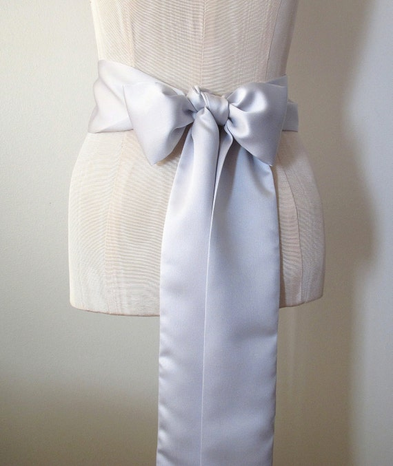 Grey Silver Matte Satin Sash Wedding Sash Bridesmaid Sashes Bow Belt - by ccdoodle on etsy - made to order - limited