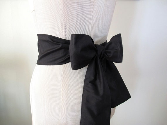 Dupioni Silk Sash in Black by ccdoodle on etsy - short length - made to order