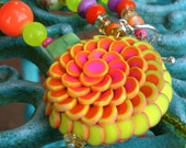 Tutti Frutti Lotus Flower Polymer Clay Necklace and Earrings Set with Front Toggle Clasp in Hot Pinks Orange and Neon Yellow