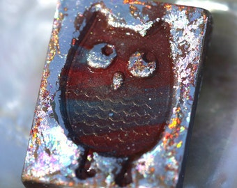 Owl Pendant, Owl in Iridescent Silver Leaf on Polymer Clay, Little Rustic Owl Pendant