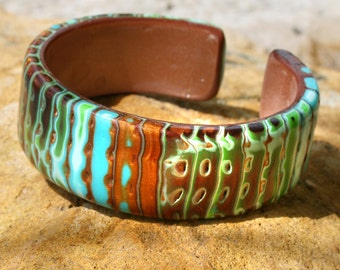 Cuff, Flexible Polymer Clay Surfer Cuff, Rustic Turquoise Blue and Copper flexible cuff