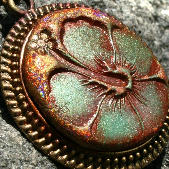 Tropical Flower in Copper and Turquoise in Polymer Clay, Antiqued Bronze Bezel Pendant, Key West Hibiscus Flower