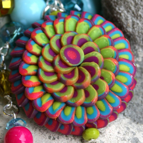 Rainbow Lotus Flower Beaded Necklace in Polymer Clay