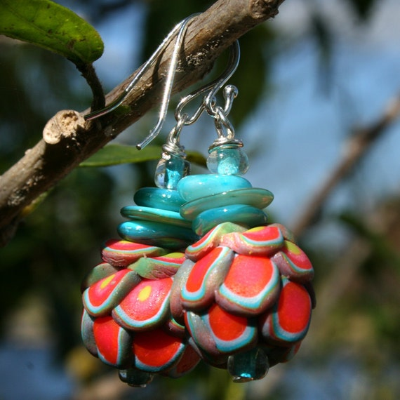 Dangle Polymer Clay Earring in Turquoise and Red