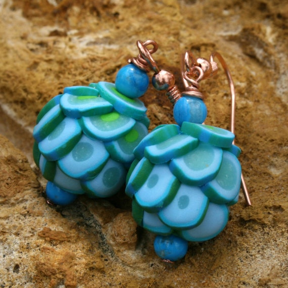Turquoise Blue Polymer Clay Dangle Earrings with Bright Copper Earwires