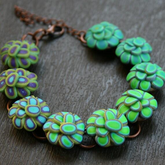 Turquoise Blue Lotus Flower Polymer Clay Copper Bezel Bracelet