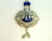 Natural Blue Lapis Leaf Necklace / An Original 54 Copper Square Design