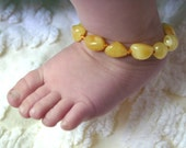 Buttery Yellow Amber Teething Anklet FREE SHIPPING