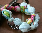 Fabric and Wood Chomping Necklace Aqua