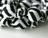 Black and White Chevron Fabric and  Wood Chomping Necklace
