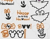 Halloween Mister and Miss Mouse TEN machine applique embroidery design SET, Multiple sizes, including 4 inch