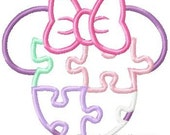 Miss Mouse Autism Awareness  Head, Machine Applique Embroidery Design, Multiple Sizes, including 1, 2, 4, 5, and 6 inch