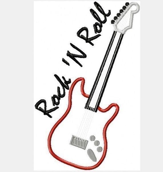 electric guitar rock  u0026 39 n roll machine applique two