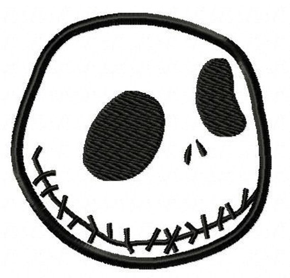 Jack Skellington Nightmare Before Christmas Digital Applique Machine Embroidery Design 4 inch hoop and other sizes