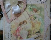 Handmade HAPPY BIRTHDAY Fairies Card Shabby Glittered Heart