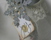 Victorian Tussie Mussie/Cone Ornaments w/ Hanging Chandelier Bead Qty.2 Petite