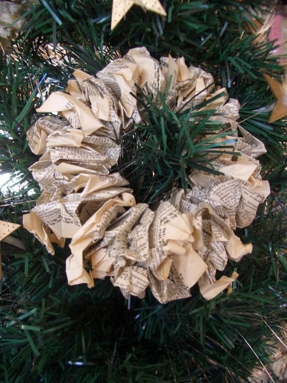 Mini Vintage Paper Wreaths/Ornaments Qty. 2