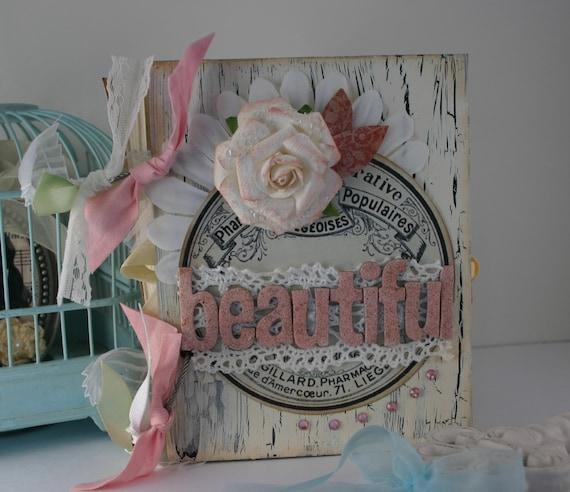 Shabby Chic BEAUTIFUL Journal with Handmade Paper