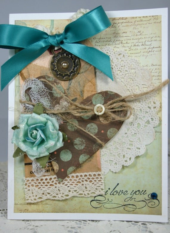 Shabby Vintage I LOVE YOU Handmade Card Tied Up Heart
