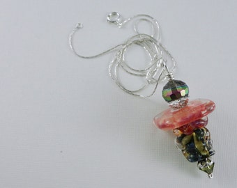 Stacked Artisan Lampwork Bead Pendant Sterling Silver Necklace