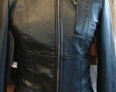 Black Ladies fitted leather jacket -Made to measure from XS to XL