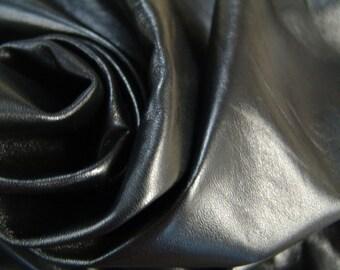 Black premium Italian lambskin leather  - a full 5 plus square foot hide