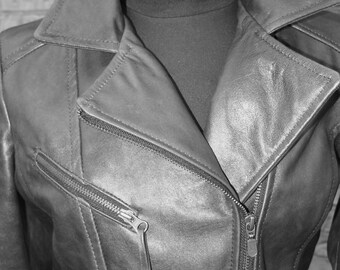 Black zipper fun cool fresh style ladies leather jacket - S, M, L and Xl - Tailor MADE