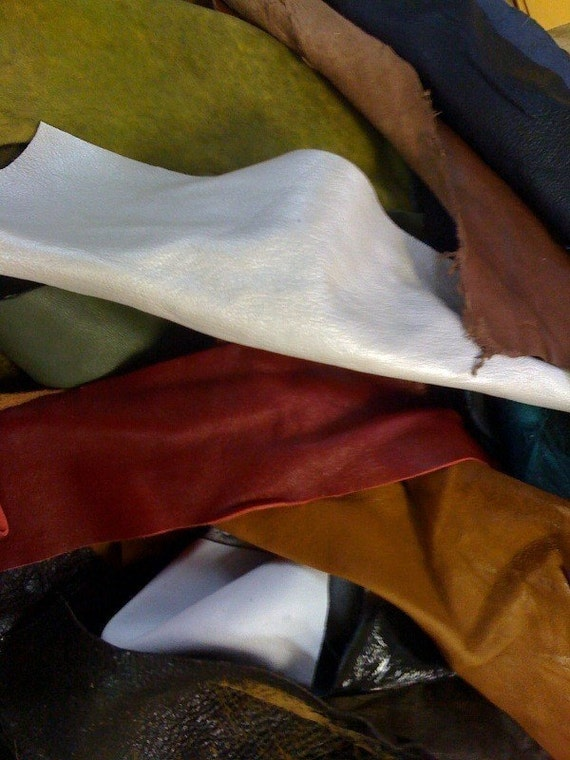 RESERVED for ALI - 1/2 a  pound Lambskin Italian soft  Leather Remnants (great pieces) ,earthy colors and some surprises, hand selected
