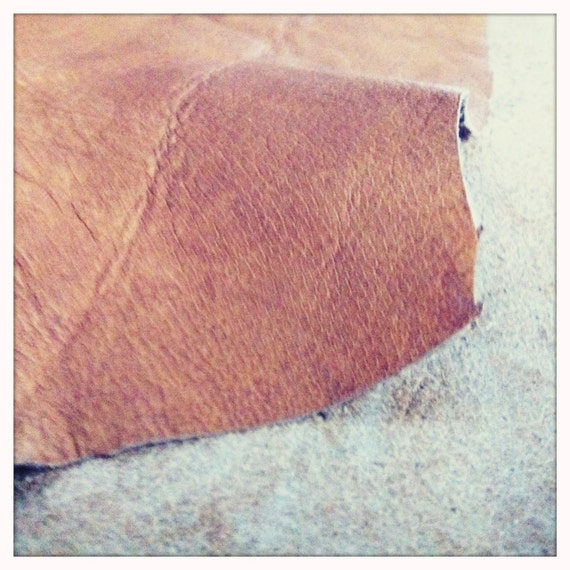 2 sided lambskin leather in creamy sandy colored and toffee softly distressed tones - a 4 aquare foot piece