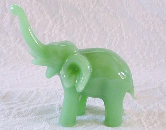 Vintage Jade Green Elephant Figurine Blown Glass