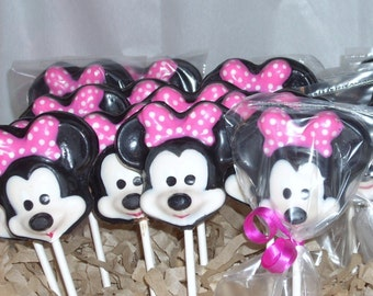 Chocolate Minnie Mouse Lollipops