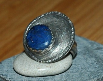 Sterling Silver Orbit Ring with Azurite