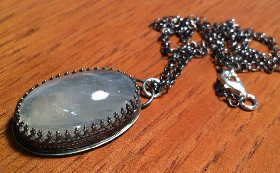 Sterling Silver Avalon Pendant with Rainbow Moonstone