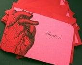 I Heart You - Set of 5 Handmade Anatomical I Love You Cards