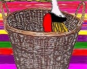 Card, Digital Art, Lady in Handbasket  (To Hell in a Hand Basket)