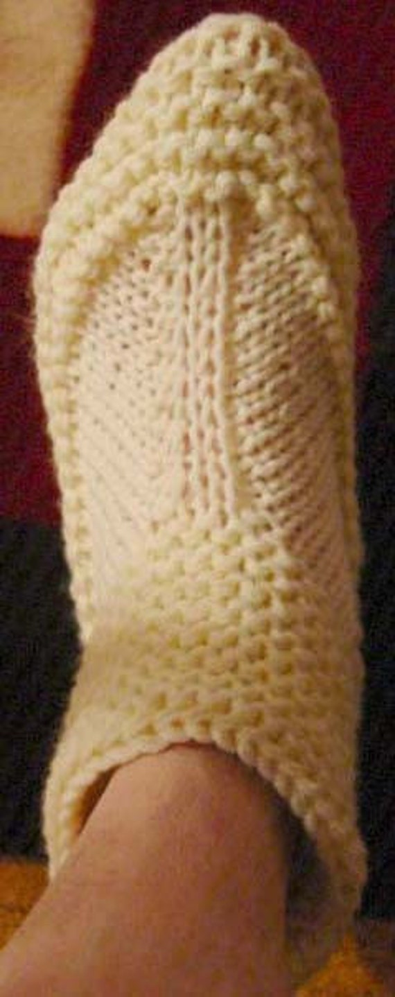 Knitting Pattern Bootie Slippers Adult Easy to Knit with My