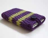 iPhone cozy case in purple and green