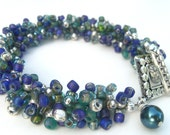 Blue,Teal and Silver Beaded Bracelet