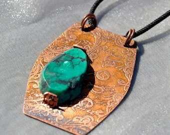 etched copper and turquoise necklace - hope
