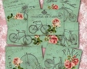 Digital Download, Vintage Bicycle and Roses Backgrounds, Collage Sheet for Gift Tags and Scrapbooking