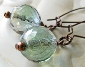 Pale Aqua Beaded Earrings in Antiqued Copper - Faceted Glass - 2 1/4 inch Dangles