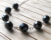 Opaque Black Necklace, Czech Glass Beads w/ Antiqued Silver Chain - 15 inch, Fashion Jewelry