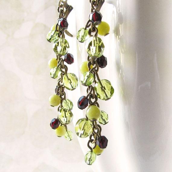 Olive Green Earrings, Beaded Cluster Earrings in Antiqued Brass - Beaded Jewelry, Cascade Dangles, Leverback Earrings