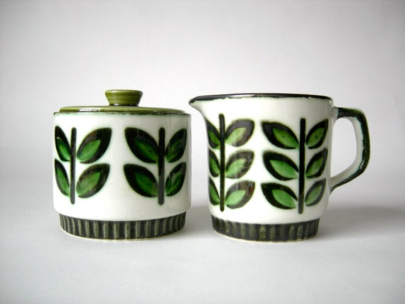 Mid Century Boch Rambouillet Cream and Sugar Set