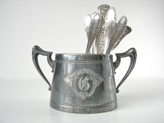 G Monogrammed Silver Sugar Bowl