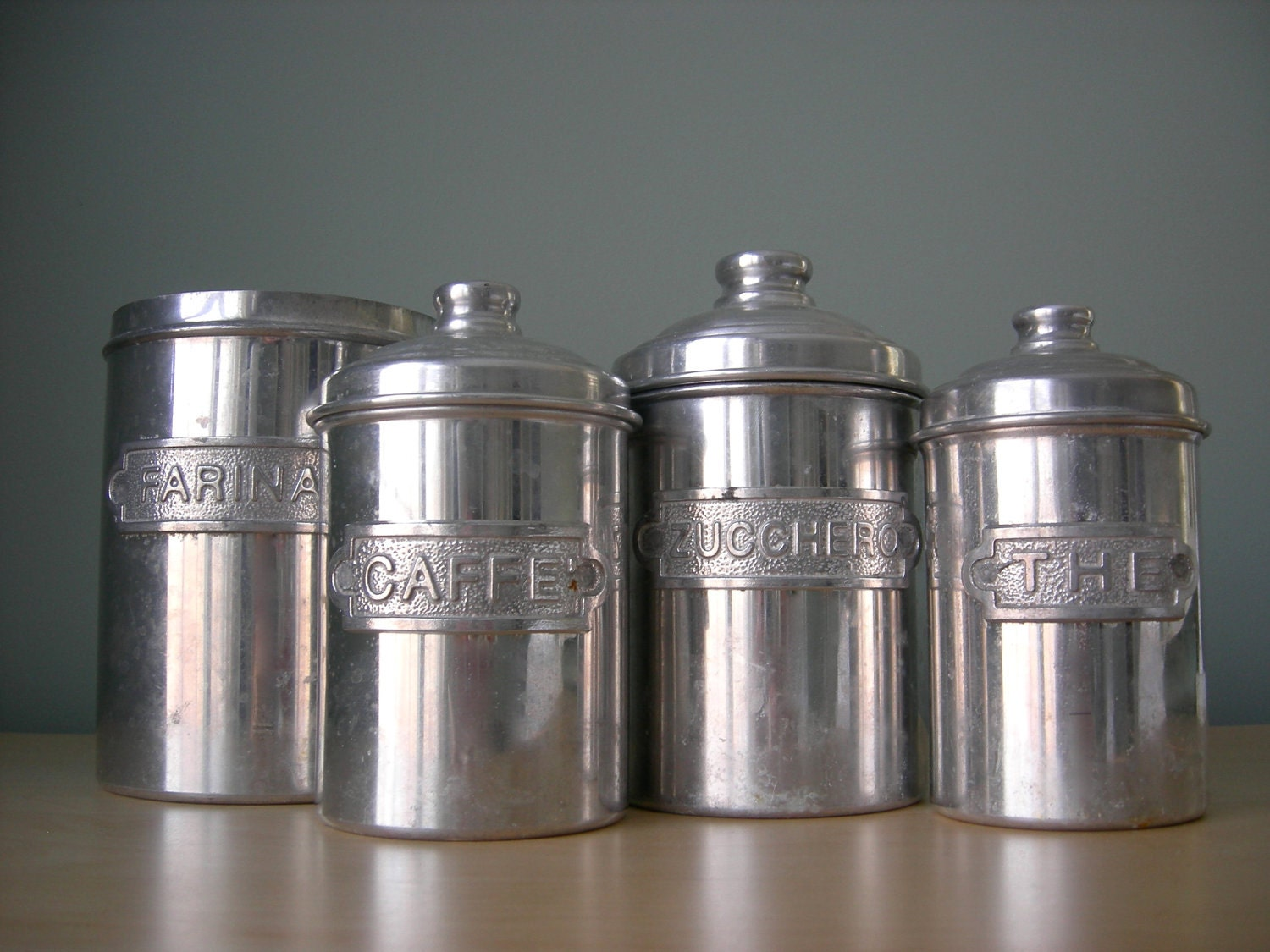 Italian canister set by tippleandsnack on etsy for Italian kitchen set