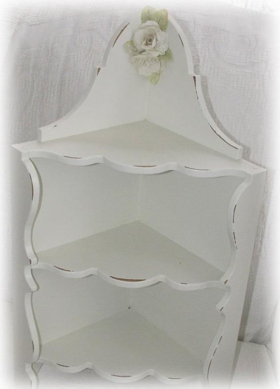 Cottage White Vintage Wood Corner Shelf Shabby Chic Distressed Paint