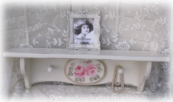 White Shelf Shabby Cottage Chic Distressed Hand Painted Pink Roses
