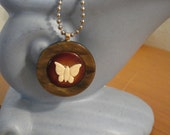vintage button assemblage with Ivory Butterfly necklace Repurposed Necklace