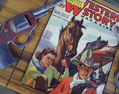 Western Cowboy Box Vintage Magazine and Horse and Tin Guns Cowgirl Chic Western Chic
